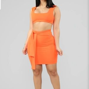 Neon orange mini skirts set